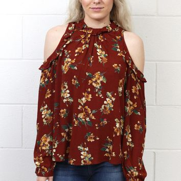 Flower Child Cold Shoulder Blouse {Rust}