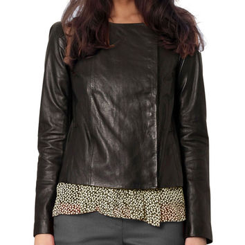 Ladies Sharlene Collarless Leather Jacket
