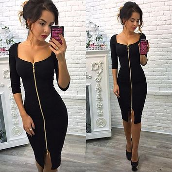 2018 Summer Fashion Women Sexy Club Bodycon Casual Dress Blue Red Black Knee-Length Party Office Wear Dresses