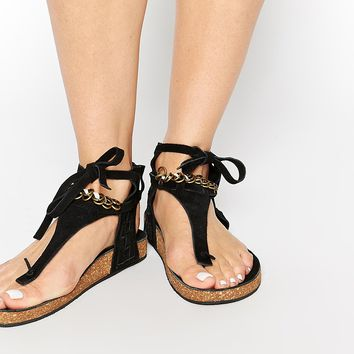 Free People Collins Footbed Gladiator Black Flat Sandals