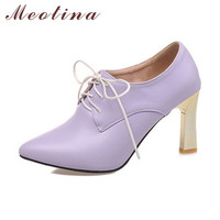 Shoes Women Pumps Autumn Pointed Toe Casual Thin High Heels Female Lace Up Solid Purple Shoes Big Size 9 10