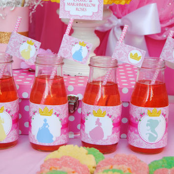 PRINCESS Birthday Party - STRAW Flags - Disney Princess Party - Girls Birthday - Bridal Shower - Girl Party- Printables- INSTANT Download