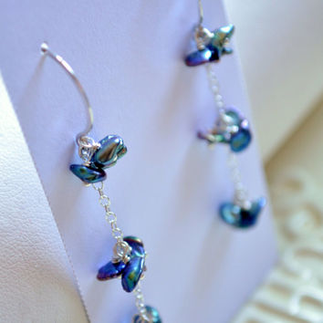 NEW Peacock Pearl Earrings, Sterling Silver, Indigo Blue, Freshwater Keishi Pearls, Cluster, Dainty Jewelry, Free Shipping