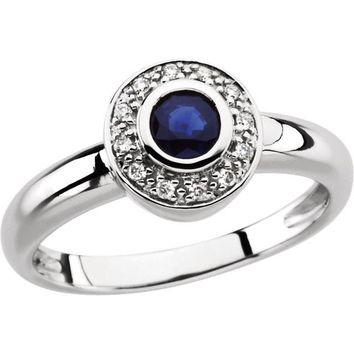 14k White Gold Genuine Blue Sapphire & Diamond Bezel Set Halo Ring