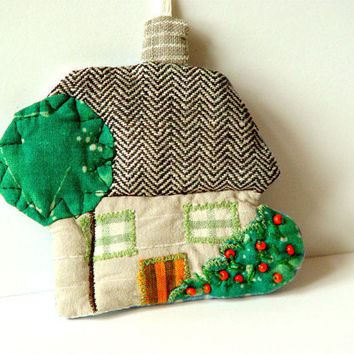 LITTLE  HOUSE, Textile Ornament, Home Decor, Quilted Beaded, Fabric House