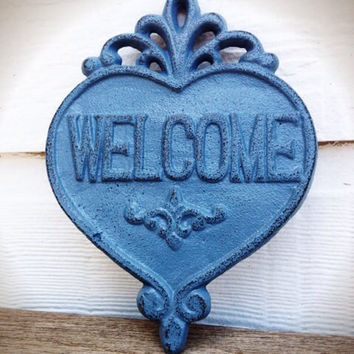 Ornate Heart Welcome Sign Wall Art - Slate Blue Grey - Rustic Shabby Chic Outdoor Decor