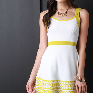 Colorblock Tribal Hem Sleeveless Sweater Dress