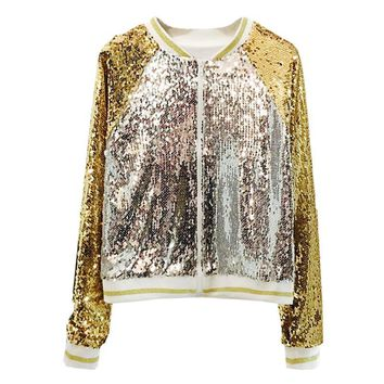 Trendy Fashion Sequins Bomber Jacket Women 2018 Autumn New Loose V Neck Basic Jacket Outerwear Womens Casaco Feminino Shiny Costume AT_94_13