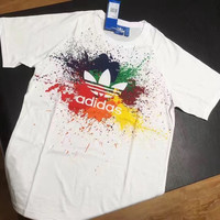 Adidas Women Splash-ink Rainbow Print T-Shirt Top Tee