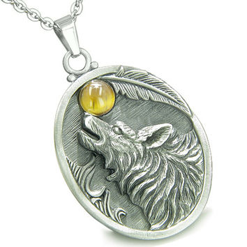 Amulet Howling Wolf Tiger Eye Moon Gemstone Oval Shape Pendant 18 Inch Necklace