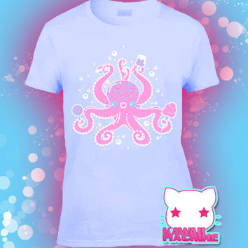 Kawaii Fairy Kei Pastel Goth Sweetiepus Octopus and Sweets Women's Tee S through 2XL