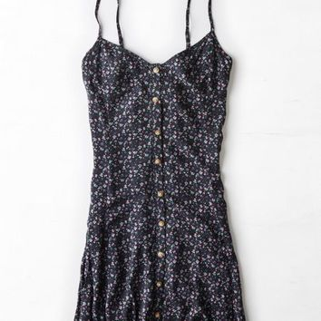 AEO Women's Printed Slip Dress (Navy)