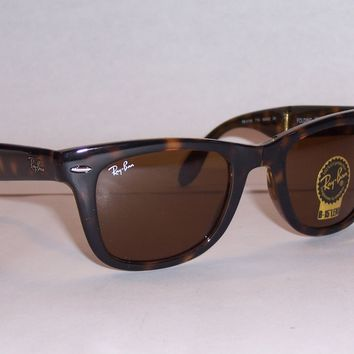 NEW RAYBAN SUNGLASSES FOLDING WAYFARER 4105 710 HAVANA BROWN 50MM AUTHENTIC