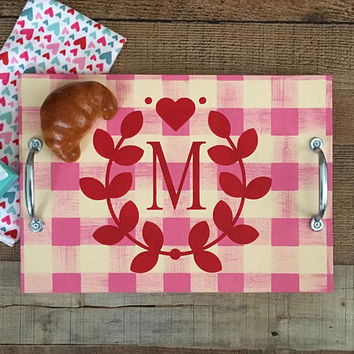Valentines Day Serving Tray,Valentines Day Gift,Valentine Party,Breakfast Tray,Buffalo Plaid Tray,Heart Home Decor,Personalized Tray