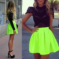 2014 Summer Fashion New Women Fluorescent Green Skater Pleated Mini Short Skirts high waist skirt SV004374 = 1946741508