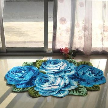 yazi Blue Rose Carpet Floral Handmade Embroidery Non-skid Porch Doormat Flower Rug Floor Mat Runner 110x70cm