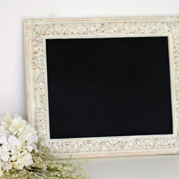 Framed Chalkboard 11 x 14 Magnetic Distressed Ivory Cream - Wedding Kitchen Menu board Magnet Board Decor