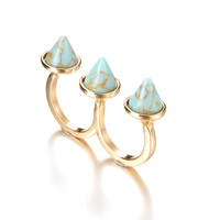 Gift New Arrival Jewelry Stylish Shiny Accessory Turquoise Fashion Rivet Strong Character Ring [8581966855]