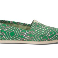 TOMS Green Geometric Tie-Dyed Women's Vegan Classics Slip-on Shoes,
