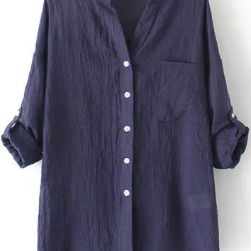 Navy Blue Ruched Folded Sleeve Chiffon Blouse