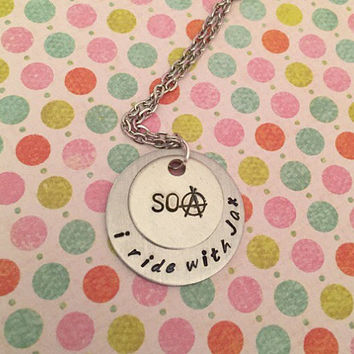 I Ride With Jax SOA Necklace - Jax Teller Jewelry - Fandom Necklace- Sons of Anarchy Inspired Jewelry - Handstamped Jewelry - Samcro Jewelry