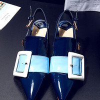 Blue Sling Back Contrast Buckle Detail Block Heels
