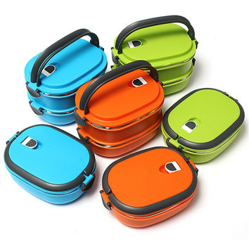 High Quality 1/2 Layer Korean Multicolor Lunch Box Eco-Friendly Food Containers Outdoor Thermal Insulated Bento Dinnerware Sets