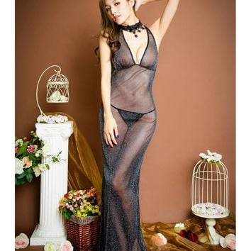 Wow! Super Sheer floor length long mesh Gown, g-string included