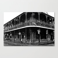 Bourbon Street retro cityscape urban black and white fine art travel photography New Orleans wall decor French Quarter print gifts under 50