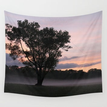 Morning Field Fog Amonst a Tree Wall Tapestry by BravuraMedia