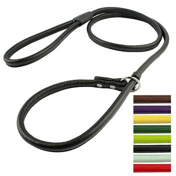 2 Sizes Pu Leather P Choke Dog Training Leash Small Dogs Walking Leads With Slip Collar 7 Colors For Small & Medium Dogs