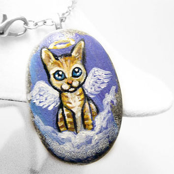 Orange Tabby Necklace, Cat Angel Pendant, Pet Loss Gift, Beach Stone Jewelry, Pet Memorial, Cute Cat Painting, Hand Painted Stone