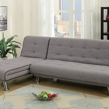2 pc Alisian II collection two tone linen like fabric upholstered folding sofa and reversible chaise futon sectional set