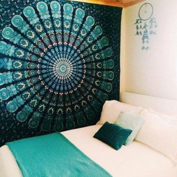CREYU3C Peacock Tapestry Green Beautiful Indian Mandala Tapestry Hippie Decorative Wall Tapestries Hanging Bohemian Bedspread 206 *160cm