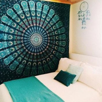 ICIKJG2 Peacock Tapestry Green Beautiful Indian Mandala Tapestry Hippie Decorative Wall Tapestries Hanging Bohemian Bedspread 206 *160cm