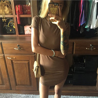 Short Sleeve Summer Hot Sale Irregular Women's Fashion One Piece Dress [9522169348]