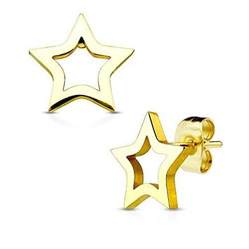 Pair of Hollow Star 316L Stainless Steel WildKlass Earring Studs