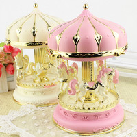 Cute lamplight merry-go-round music box gifts