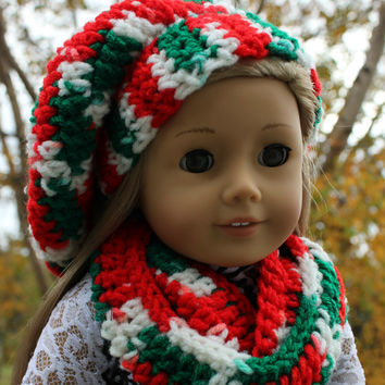 red, white, green, beret style crochet slouch hat with infinity scarf, 18 inch doll clothes, American girl Maplelea