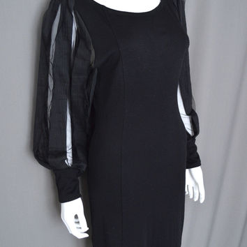 Alice & Olivia Black Short Cocktail Dress Mesh Lace Striped Blouson Sleeves M (Alice + Olivia)