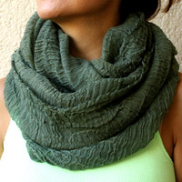 Green Infinity Scarf Eternity Scarf Urban Outfit  Wide Hand Woven Wool Fabric Solid Color  Loop Circle Scarf Spring Scarf