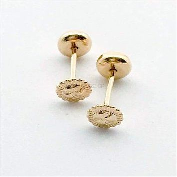 Sunshine Screw Back Earrings Studs 18kts of Gold Plated