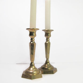 Vintage Brass Candle Holder Sticks Art Deco Style Octagon Solid Brass