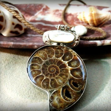 Ancient Ammonite Polished Fossil and Shell Necklace