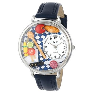 SheilaShrubs.com: Unisex Gourmet Navy Blue Leather Watch U-0310001 by Whimsical Watches: Watches