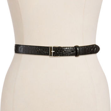 Lauren Ralph Lauren Embossed Leather Belt With Square Frame Buckle