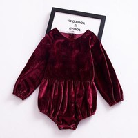 Fall Soft Velvet Long Sleeve Baby Romper