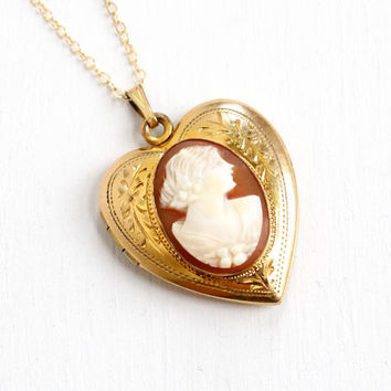 Vintage 12k Gold Filled Cameo Heart Locket Necklace- 1940s WWII Era Sweetheart Flower Etched Carved Shell Jewelry