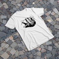 "THE SAMPLE size of the print image on the T-Shirt 12""x12"" Hanging Sloth"
