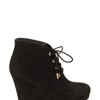 FOREVER 21 Lace-Up Wedge Booties Black